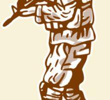 American Soldier Rifle Walking Circle Cartoon Sticker