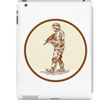 American Soldier Rifle Walking Circle Cartoon iPad Case/Skin