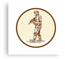 American Soldier Rifle Walking Circle Cartoon Canvas Print