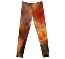 VIVID RED AND YELLOW ABSTRACT FLOWERS          Leggings