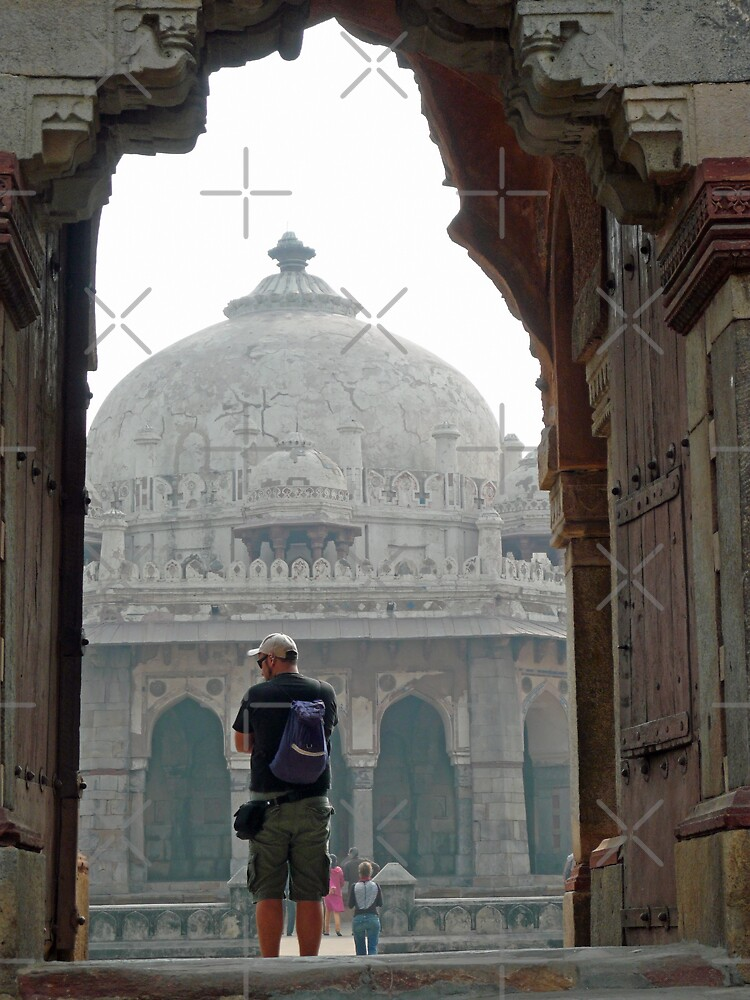 Tourist framed in archway while photographing the Humayun Tomb by ashishagarwal74