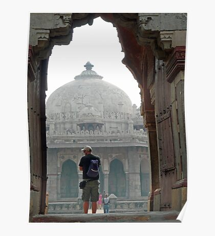 Tourist framed in archway while photographing the Humayun Tomb Poster