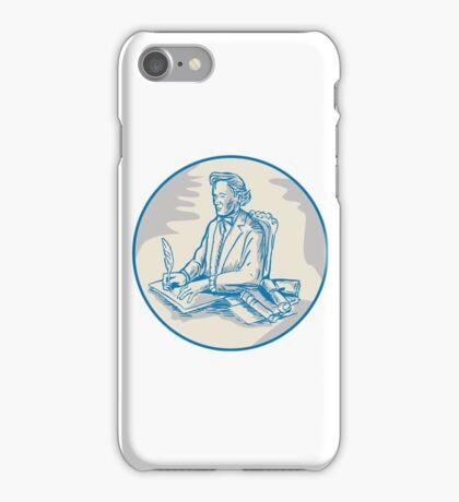 Victorian Gentleman Quill Signing Cartoon iPhone Case/Skin