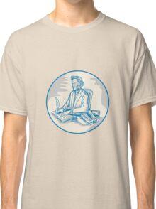 Victorian Gentleman Quill Signing Cartoon Classic T-Shirt