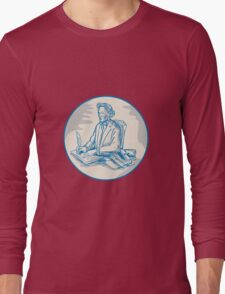 Victorian Gentleman Quill Signing Cartoon Long Sleeve T-Shirt