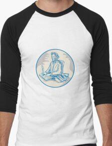 Victorian Gentleman Quill Signing Cartoon Men's Baseball ¾ T-Shirt