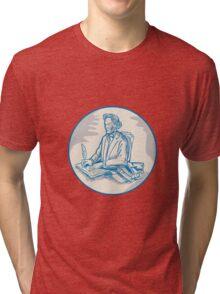 Victorian Gentleman Quill Signing Cartoon Tri-blend T-Shirt