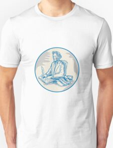 Victorian Gentleman Quill Signing Cartoon T-Shirt