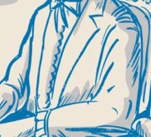 Victorian Gentleman Quill Signing Cartoon Sticker