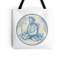 Victorian Gentleman Quill Signing Cartoon Tote Bag