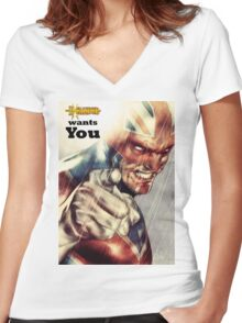 Captain Britain  Women's Fitted V-Neck T-Shirt