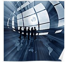 abstract business illustration with globe Poster
