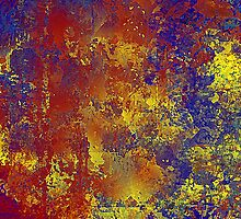 Abstract in Blue, Red, and Gold by Jessielee72