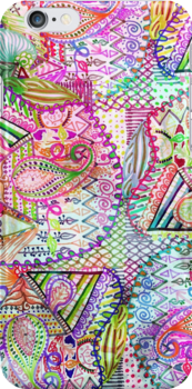 Abstract Girly Neon Rainbow Paisley Sketch Pattern by GirlyTrend
