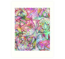 Abstract Girly Neon Rainbow Paisley Sketch Pattern Art Print