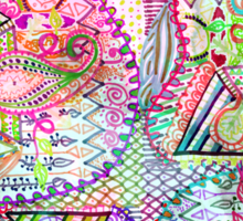 Abstract Girly Neon Rainbow Paisley Sketch Pattern Sticker