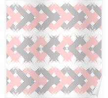 Geometric modern pink coral gray brushstrokes Poster