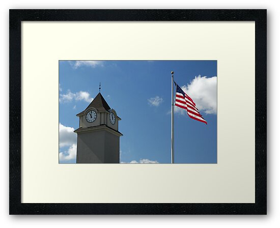 Clock Tower &  US Flag  - Jackson Outlet Mall - Jackson NJ - 1 by Paul Gitto