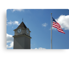 Clock Tower &  US Flag  - Jackson Outlet Mall - Jackson NJ - 1 Canvas Print