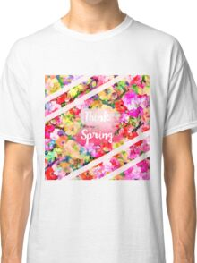 Spring girly pink typography watercolor floral  Classic T-Shirt