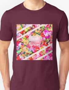 Spring girly pink typography watercolor floral  Unisex T-Shirt