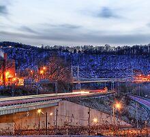 Newell Bridge and Car Lights by Tony  Bazidlo