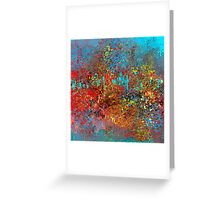 Colorful Absract in Aqua, Red, Yellow, and Blue Greeting Card