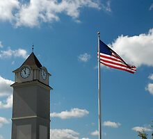 Clock Tower &  US Flag 9/11 Tribute by Paul Gitto