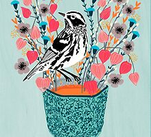 Tea and Flowers - Black and White Warbler by Andrea Lauren by Andrea Lauren