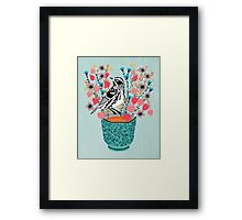 Tea and Flowers - Black and White Warbler by Andrea Lauren Framed Print