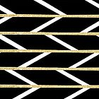 Modern faux gold glitter black chevron pattern by GirlyTrend