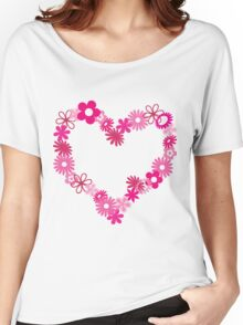 Pink Flower Heart  Women's Relaxed Fit T-Shirt