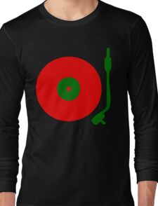 Red Green DJ Vinyl Record Turntable Long Sleeve T-Shirt