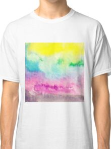 Abstract yellow pink blue handpainted watercolor Classic T-Shirt