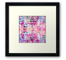 Girly pastel pink floral bright watercolor space Framed Print