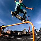 Jean-Marc Johannes, Overcrooks a playground rail near his house. by Gerhard Engelbrecht