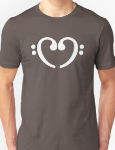 Bass Music Notes White Heart T-Shirt