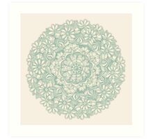 Sage Medallion with Butterflies & Daisy Chains Art Print