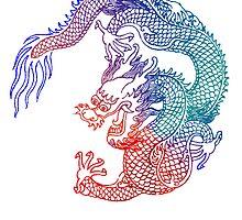 Asian Art Rainbow Dragon by Zehda