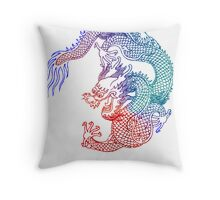 Asian Art Rainbow Dragon Throw Pillow