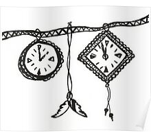 Clocks & Feathers Black and White Drawing Poster