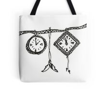 Clocks & Feathers Black and White Drawing Tote Bag