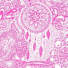 Hipster pink dreamcatcher floral doodles pattern by GirlyTrend
