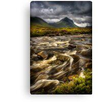 Marsco and swollen river at Sligachan, Isle of Skye. Scotland. Canvas Print