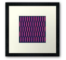 Modern abstract neon pink navy blue brushstrokes Framed Print