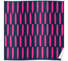 Modern abstract neon pink navy blue brushstrokes Poster