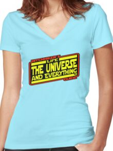 Hitchhiker's Guide Strikes Back Women's Fitted V-Neck T-Shirt
