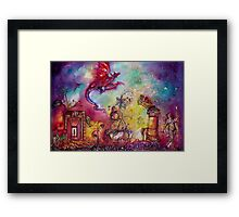 GARDEN OF THE LOST SHADOWS  / FLYING RED DRAGON Framed Print