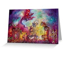 GARDEN OF THE LOST SHADOWS  / FLYING RED DRAGON Greeting Card