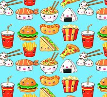 Kawaii Foods Pattern by beaglecakes